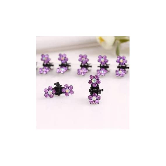 Online MonkTM Baby - 24 Pcs Set of Crystal Rhinestone Mini Claw Type Hair Clip for Baby Girls - Purple Rhinestones 24
