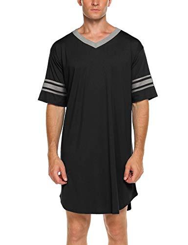 Ekouaer Men's Nightshirt, Cotton Nightwear Comfy Big&Tall V Neck Short Sleeve Soft Loose Pajama Sleep ()
