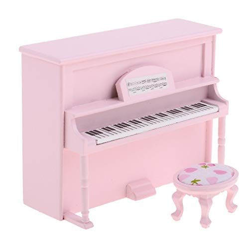 NATFUR Dollhouse Miniature Pink Upright Piano Mini Doll House Scene Scale Model from NATFUR