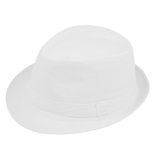 Elee Unisex Timelessly Fedora Hat Jazz Cap Classic Trilby Short Brim Solid Color (White)