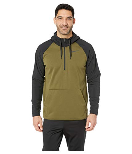 NIKE Men's Therma Utility Fleece 1/4 Zip Pullover (Olive Canvas/Black, XX-Large)