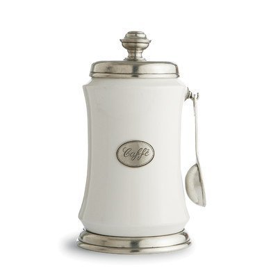 Arte Italica Tuscan Coffee Canister with Spoon, White by Arte Italica
