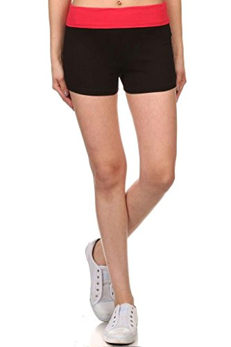 - Womens Cotton Fold Over Waistband Yoga Shorts - Solid/Contrasting Waistband Contrast Red Large