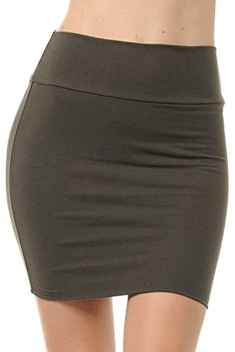 Fashion Aktiv Basic Double-Layer Cotton Simple Stretchy Tube Pencil Mini Skirt (Small, Dark Olive)