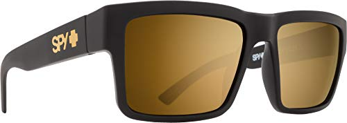 Spy Optic Men's Montana Square Sunglasses, Soft Matte Black/Happy Bronze/Gold Mirror, 1.5 ()
