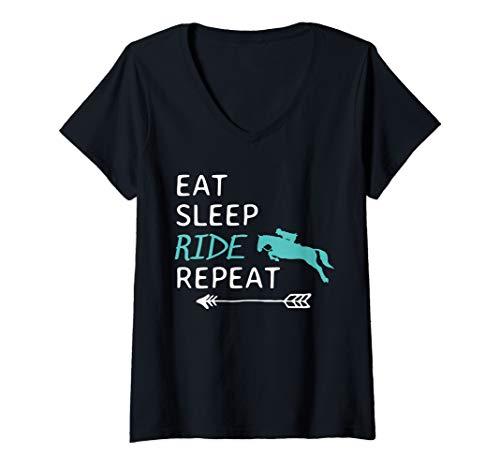 Womens Eat Sleep Ride Horses Repeat Horseback Riding V-Neck T-Shirt