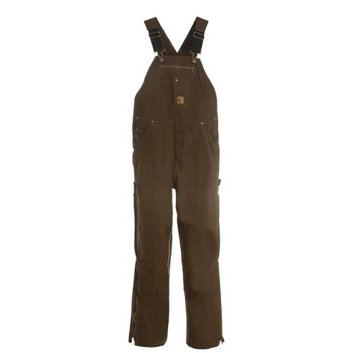 Berne Men's Unlined Washed Duck Bib Overall, Bark 34X32 from Berne