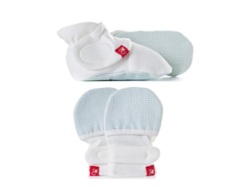 Aqua Mittens (Goumikids - Organic Mitts & Booties Bundle, Soft Stay On Scratch Proof Mittens and Adjustable Baby Booties (Drops/Aqua, 0-3 Months))