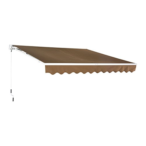 Outsunny 13' X 8' Manual Retractable Sun Shade Patio Awning - Coffee Brown - Retractable Shade