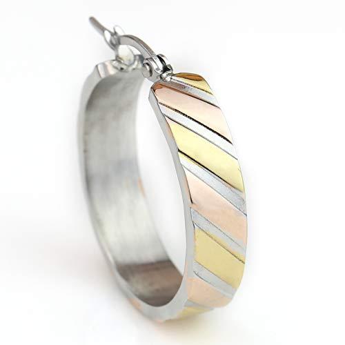 Diagonal Hoop (United Elegance - Stylish Twisted Diagonal Stripe Tri-Color Silver, Gold & Rose Tone Hoop Earrings (Classic Twisted Stripe))