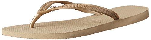 - Havaianas Women's Slim Crystal Glamour Sw Flip Flop Sandal,Sand Grey/Light Gold, 37/38 BR(7-8 M US Women's / 6-7 M US Men's)