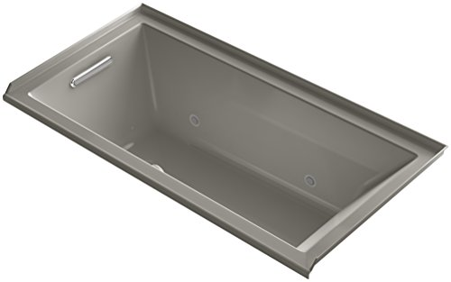 Bubblemassage Bathtub - KOHLER 1167-LGCR-K4 Underscore 60-Inch x 30-Inch Alcove BubbleMassage Air Bath with Tile Flange, Chromatherapy, and Left-Hand Drain, Cashmere