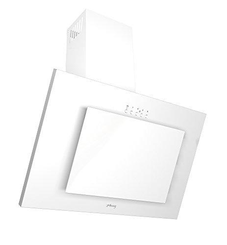 HAAG Vertikal Weiß + Glas + LED, Kohlefilter, BREITE 50 cm Dunstabzugshaube, Kopffrei, Wandhaube (50) [Energieklasse C]