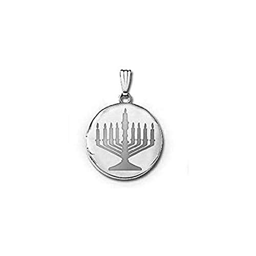 PicturesOnGold.com 14k White Gold Menorah Round Locket - 3/4 in X 3/4 in