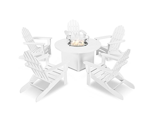 POLYWOOD Classic Folding Adirondack 6-Piece Conversation Set with Fire Pit Table (White)