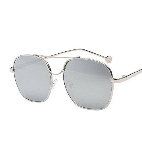 Aoligei Verres de couleur océan morceau lunettes de soleil lunettes de soleil cadre métallique miroir plat marée homme pilote C