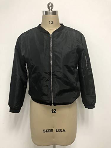 Cuello Corto La Outcoat Stand Otoño Cremallera Mujer Corta Zilcremo Chaqueta Acolchada Casual Bomber Black dPCqwwX