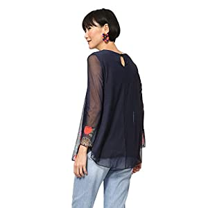 Desigual T-Shirt Long Sleeve Rachel Woman Blue Maglietta a Maniche Lunghe Donna
