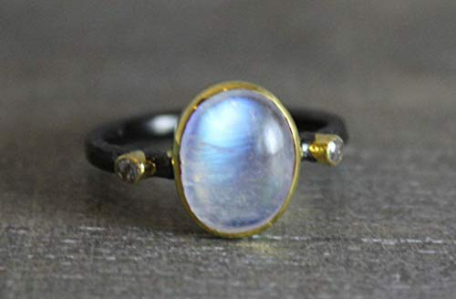 Rainbow Moonstone Gemstone and Diamond Oxidized 925 Sterling Silver Ring, size 8.5