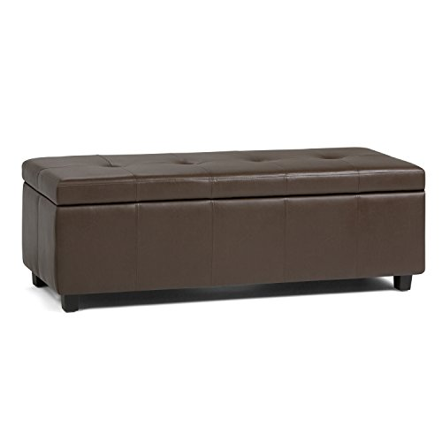 Simpli Home 3AXCOT-241-CBR Castleford 48 inch Wide Contemporary  Storage Ottoman in Chocolate Brown Faux Leather