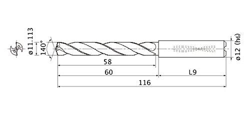 12 mm Shank Dia. 11.113 mm Cutting Dia 3 mm Hole Depth Internal Coolant 2 mm Point Length Mitsubishi Materials MMS1111X3D120MMS Series Solid Carbide Drill