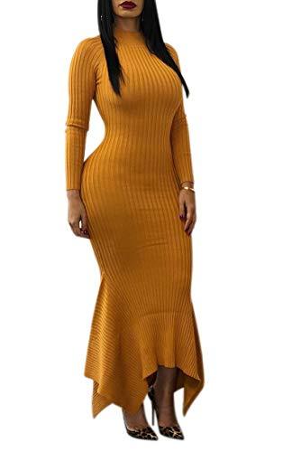 Ophestin Women Sexy Mock Neck Long Sleeve Knit Ribbed Bodycon Mermaid Long Maxi Dress Yellow M