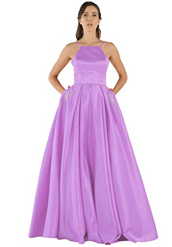Women's Halter Beaded A Line Satin Party Bridesmaid Dress Long Prom Formal Ball Gowns with Pockets Lilac Size 4 ()
