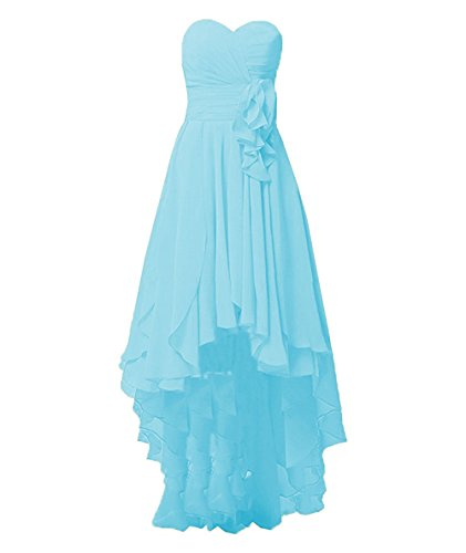 Wedding Hi Lo Blue Chiffon Bridesmaid Evening Low Gowns Women's Cdress High Dresses Prom BYw80cq1