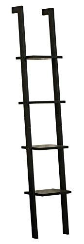[Orolay Modern Display Wall Shelf Ladder Shelf Bookcase 4 Tiers ZZWJ15 (Black)] (Wall Ladder)