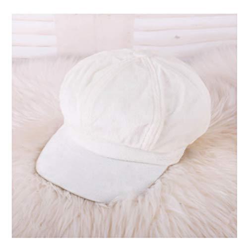 - Women Soft Velvet Newsboy Hat Spring Autumn Warm Painter Hat Vintage Beret Solid Retro Octagonal Cap Bone White