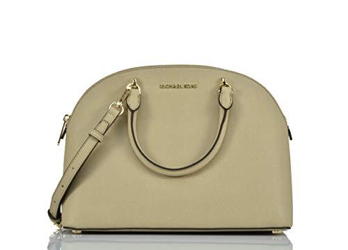 Michael Kors Emmy Large Dome Satchel Saffiano Leather Studded Scalloped Edge Shoulder Bag Purse Handbag