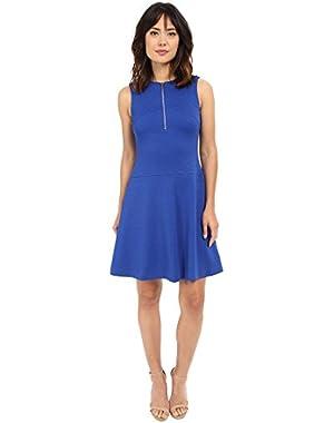 Calvin Klein Womens Textured Flare Dress w/ Front Zip