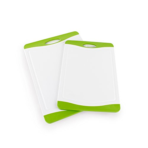 Neoflam 2 Piece Plastic Cutting Board Set in White and Green - BPA Free, Non Slip, Dishwasher Safe, Microban Antimicrobial - Protection Antimicrobial