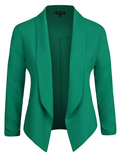 Michel Womens Casual Blazer Work Office Lightweight Stretchy Open Front Lapel Jacket with Plus Size Jade Small
