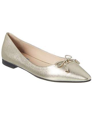 Prada Metallic Saffiano Leather Pointy- Toe Ballerina Flat, 37.5, Metallic