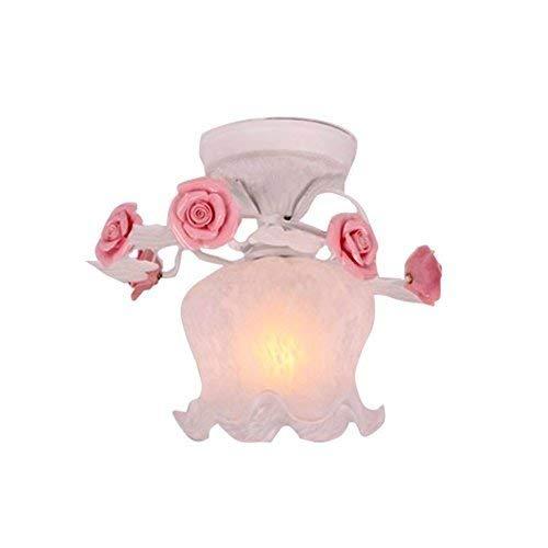 FuweiEncore Rosa Blaumen, Kuppel Lichtkuppel Licht Zimmer Restaurant Retro Blaumenladen Licht an der Decke des Korridors in Glas Deckenleuchte 1 E27, 28  23cm (Größe  28  23cm) (Farbe   28  23cm)