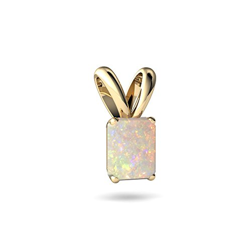 Emerald Cut Solitaire Pendant - 14kt Yellow Gold Opal 7x5mm Emerald_Cut Solitaire Pendant