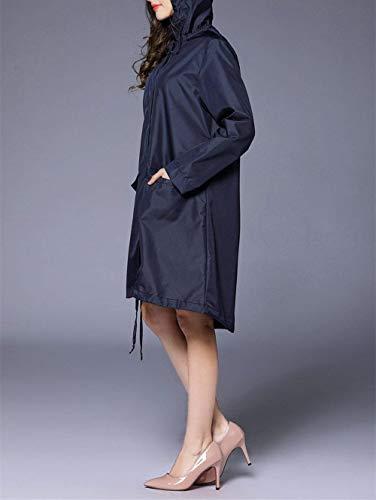Poncho Con De Huixin Outdoor Libre Mujeres Aire Impermeables Navy Blau Mirada Las Capucha Al Impermeable Y Clásica wqw4z0