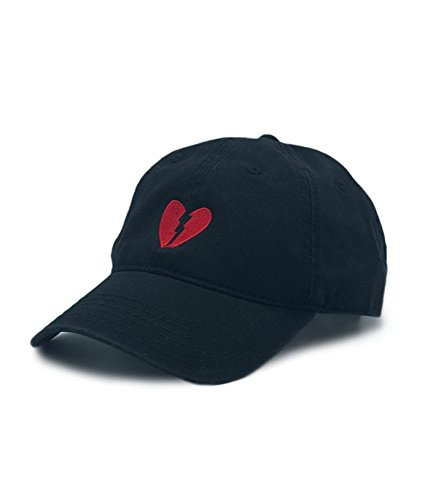 Riot Society Broken Heart Embroidered Mens Adjustable Dad Hat Black