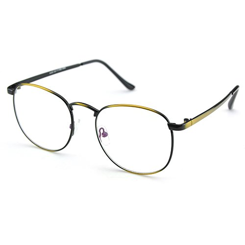 4544b01a501 PenSee Oversized Circle Metal Eyeglasses Frame Inspired Horned Rim Clear  Lens Glasses (Brassiness) - Buy Online in Oman.