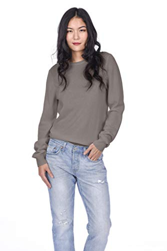 State Cashmere Essential Crewneck Sweater 100% Pure Cashmere Long Sleeve Pullover for Women (Winter Twig, Large)