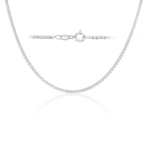 Sterling Silver Spiga Wheat Chain Necklace 2mm Italy 20 inch ()