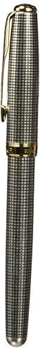 - Parker Sonnet Sterling Ciselé Fine Point Fountain Pen with Golden Trim, Silver (1743550)