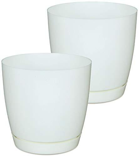 YOUniversal Products - Medium White Plastic Flower Pot - 2PK -
