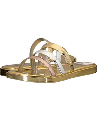 Michael Kors Toe Sandals Open (MICHAEL Michael Kors Womens Keiko Open Toe Casual Slide, Gold/Silver, Size 7.0)