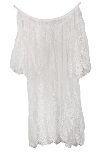 Pop Vintage Hippie Boho Embroidery Floral Lace Crochet Mini Beach Party Dress Tops (S)