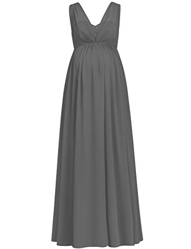Cdress Lace V-Neck Chiffon Maternity Bridesmaid Dresses Plus Size Pregnancy Long Prom Party Gowns Steel_Grey US 8