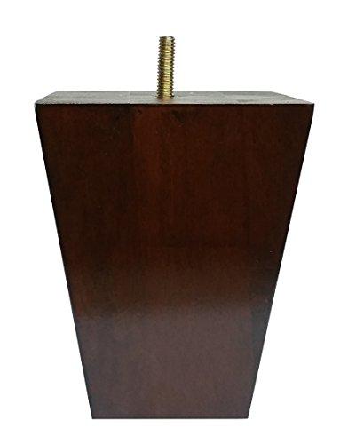 "5"" Tall Leg Walnut Tapered Threaded Bolt Sofa/Couch/Chair Wood Legs - Set of 4"