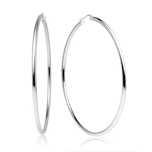 (LOVVE Sterling Silver High Polished Round-Tube Click-Top Hoop Earrings, 2x60mm)