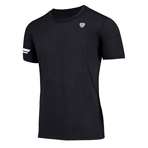 TEVEQ Men's Short Sleeve Shirt Summer Sports Fitness Fast Dry Clothes Sports Short Sleeves Top Blouse -
